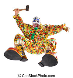 Attack of the evil clown - A nasty evil clown, angry,...