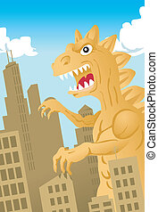 A giant dinosaur-like monster invades a city.