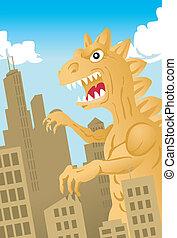A giant dinosaur-like monster invades a city.