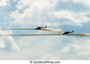Attack of two russian helicopters MI-24