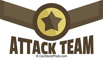 Attack team icon logo, flat style