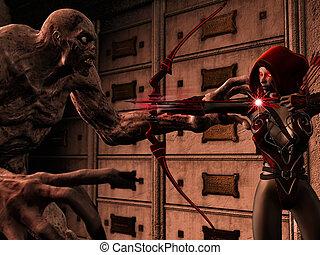 attackig, elfo, su, zombie