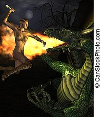 3D rendered fantasy scene with attacking woman assassin on dragon