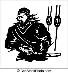 Attacking pirate - black and white vector illustration