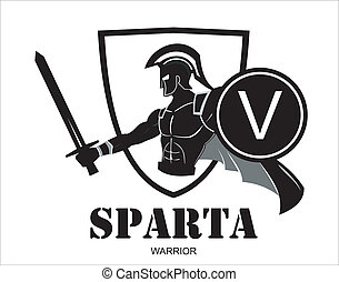 "Sparta warrior holding sword and shield. Illustration of heroic ancient roman warrior. Historical Sparta concept icon. Ancient Greek warrior . Suitable for team Mascot , team icon, community identity, product identity, corporate identity, illustration for apparel, emblem, etc . ""V"" letter on the ..."