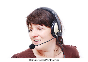 Attactive woman with a headphones on head