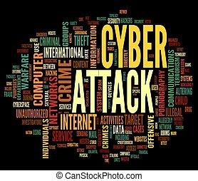 attaque, étiquette, mot, nuage, cyber