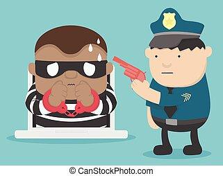 attaque, arrestation, cyber, illustration, criminel