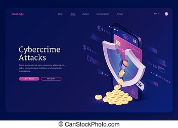 attaque, bannière, isométrique, atterrissage, page, cybercrime