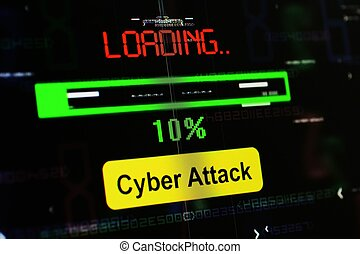 attaque, chargement, cyber