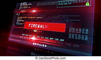 attaque, cyber, écran ordinateur, sécurité, casse