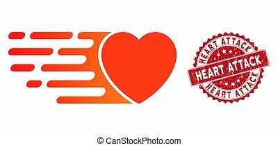 attaque, détresse, amour, exprès, coeur, icône, timbre