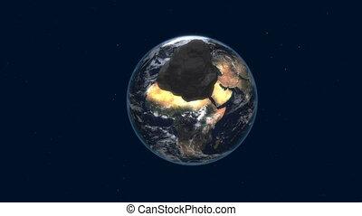 attaque, la terre, astéroïde