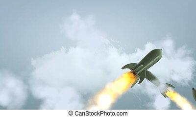 attaque, missiles