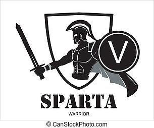 attaquer, guerrier, sparta