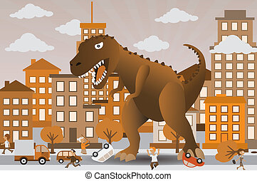 attaquer, ville, dinosaure