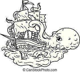 attaquer, voile, griffonnage, art, kraken, bateau
