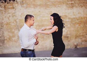 attaques, femme, mûrir, elle, petit ami