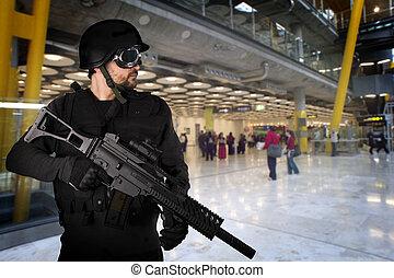 attaques, terroriste, aéroports, défendre
