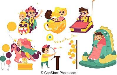 attaractions, 子供, 公園, 楽しむ, 娯楽, 幸せ