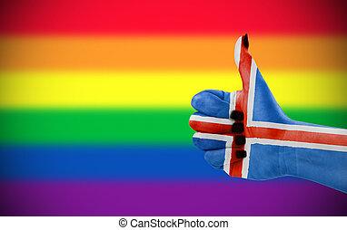 atteggiamento positivo, di, islanda, per, lgbt, comunità