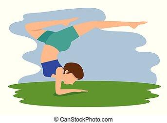 atteggiarsi, donna, yoga, esercizio