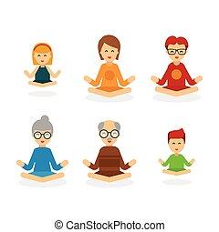 atteggiarsi, mentale, famiglia, persone, loto, energy., meditazione, carattere, isolato, spiritualità, armonia, fondo, position., calma, bianco, felice, appartamento, equilibrio, meditare, cartone animato, illustration., vettore