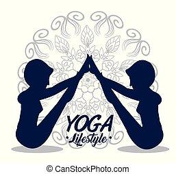 atteggiarsi, yoga, esercizio, donne