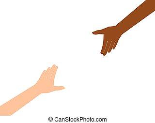 atteindre, couple, chaque, isolé, autre, fond, mains, blanc