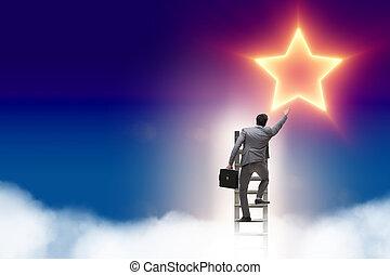 atteindre, homme affaires, étoiles, dehors
