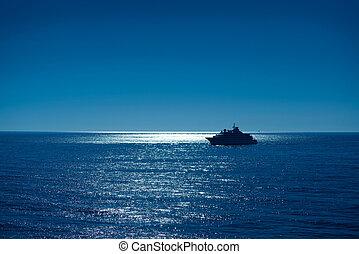 atteindre, ibiza, coucher soleil, levers de soleil, port, bateau