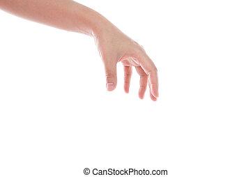 atteindre, isolé, main, fond, blanc dehors, femmes