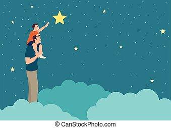 atteindre, père, fils, sien, soutien, étoile