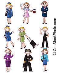 attendant/pilot, vol, dessin animé, icône
