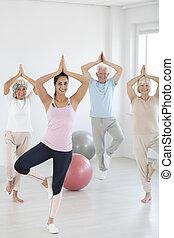 attendants, durante, classi, yoga