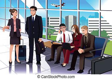 attente, aéroport, professionnels