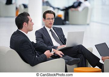 attente, assis, hommes affaires, secteur