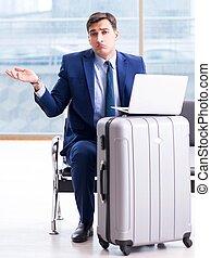 attente, avion, cla, homme affaires, aéroport, sien, ...