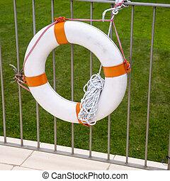 attente, ceinture de sauvetage, barrière