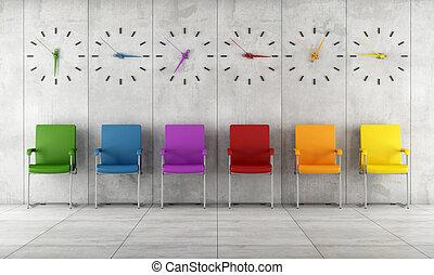 attente, contemporain, salle