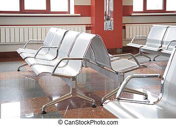 attente, fauteuils, salle