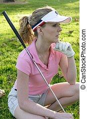 attente, golfeur, dame