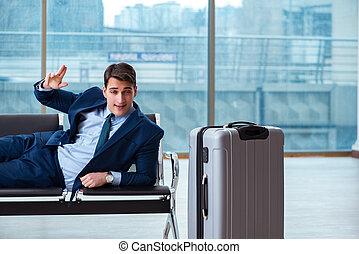 attente homme affaires, à, les, aéroport, pour, sien, avion,...