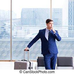 attente, homme affaires, aéroport, sien, cla, avion, ...