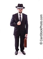 attente homme affaires, chapeau