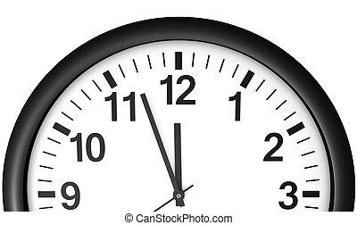 attente, horloge, minuit, temps