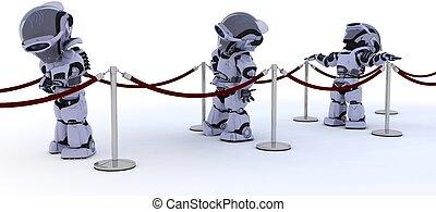 attente, ligne, robots