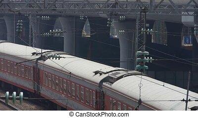 attente, rail, viaduc, &, train