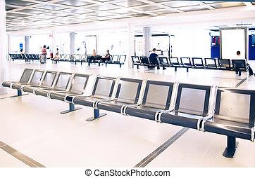 attente, salle, dans, aéroport