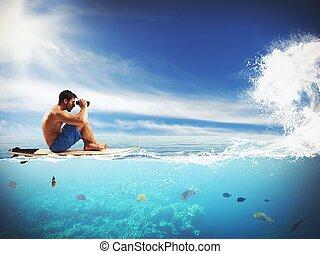 attente, surfeur, vague